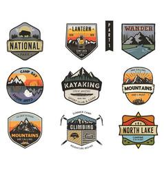 Set of vintage hand drawn travel badges camping vector