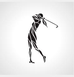 Silhouette of woman golf player golfer logo vector