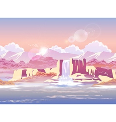 sunrise over the beautiful waterfall vector image vector image
