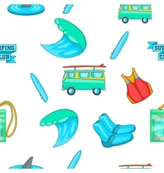 Surfing pattern cartoon style vector