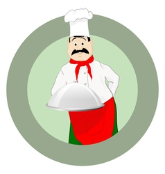 The cook in a cap with a tray vector image