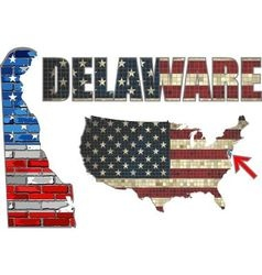 USA state of Delaware on a brick wall vector image