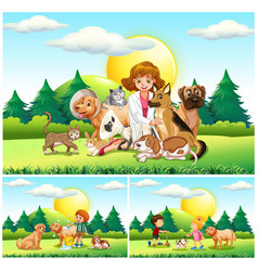 Vet and many animals in the park vector