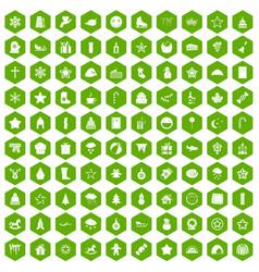 100 christmas icons hexagon green vector image vector image