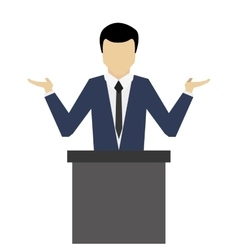 Businessman giving speech icon vector