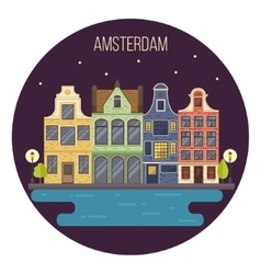 Night amsterdam cityscape vector