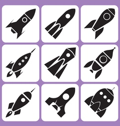 Rocket icons set vector