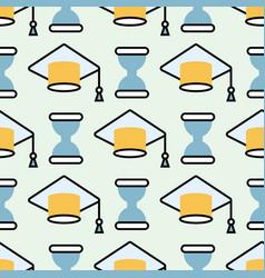 Graduation cap seamless pattern student success vector