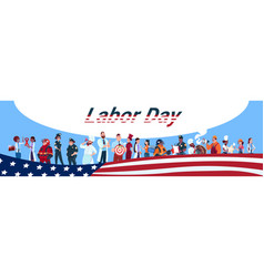 Labor day people group different occupation set vector