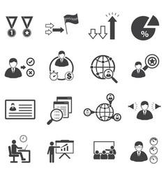 Business team management icons set vector