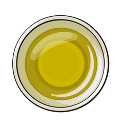 Bowl of natural oil massage top view sketch vector