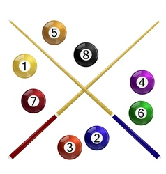 Two cue and billiard balls on a white background vector