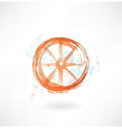 Wheel grunge icon vector