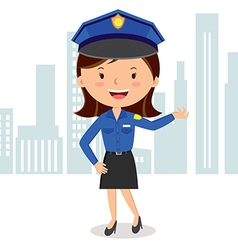 Cheerful policewoman vector