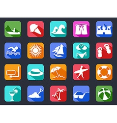 Summer beach flat icons set with long shadow vector