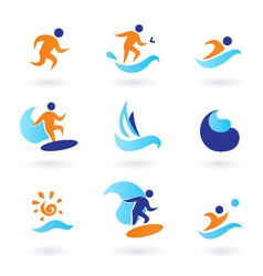 Summer swimming surfing icons vector