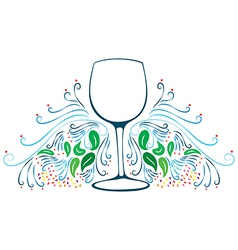 Decorative wine glass vector