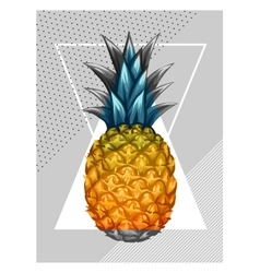 Poster with pineapple tropical abstract vector