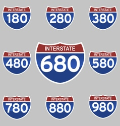 Interstate signs 180-980 vector