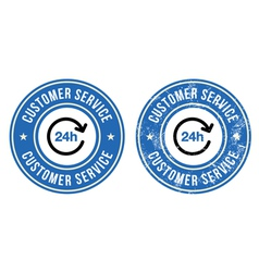 24h customer service retro badges vector
