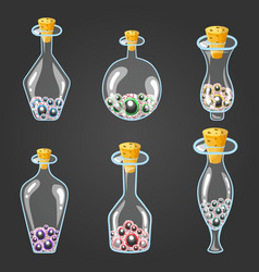 big set of bottle elixir with eyes vector image