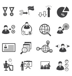 Business team management icons set vector