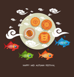 chinese mid autumn festival background with vector image