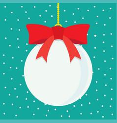 christmas ball with snowy blue background vector image vector image