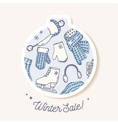 Christmas bauble sticker with winter pattern hand vector