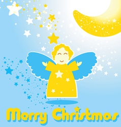 Christmas card with funny angel and the moon vector image