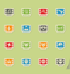 Cinema genre icon set vector