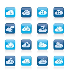cloud services and objects icons vector image vector image