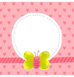 cute cartoon butterfly card with frame vector image
