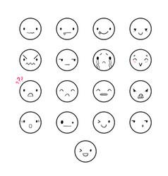 Emoticons doodle round vector