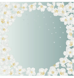 Frame spring blue background with blossoms vector