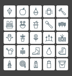 Gardening icons set collection of bloom wheat vector