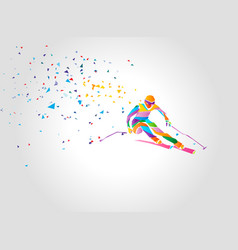 Giant slalom ski racer silhouette color vector