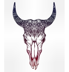 Hand drawn romantic style ornate bull skull vector image