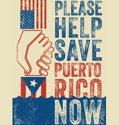 Help save puerto rico poster vector