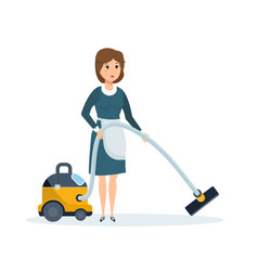 hotel employee removes dust vacuums the room vector image vector image