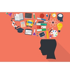 Human head with education icons vector image vector image
