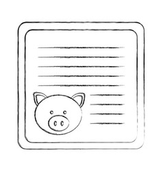 Monochrome blurred card with male pig head vector