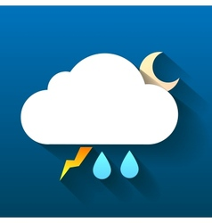 Night cloud lightning and double rain drops vector