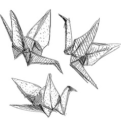 Origami paper cranes set sketch the black line on vector
