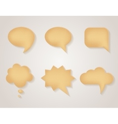 Paper cardboard speech bubbles set vector image vector image