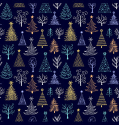 pattern with hand drawn christmas tree vector image