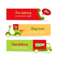 Pizza fast delivery banners vector