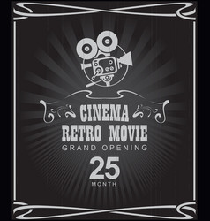poster for cinema retro movie with old camera vector image vector image
