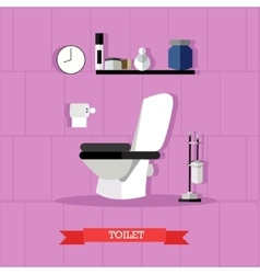 Poster with bathroom furniture toilet and vector
