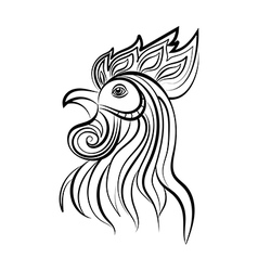 Silhouette of the cock head vector image vector image